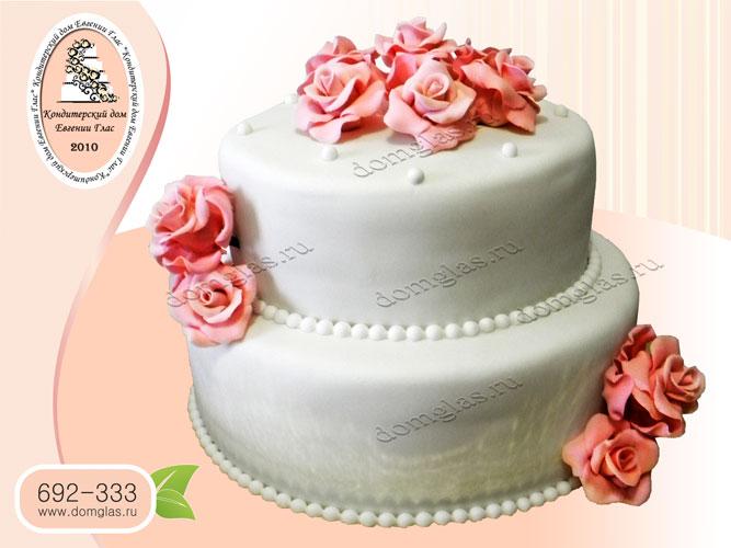 торт свадебный белый розы 2 яруса