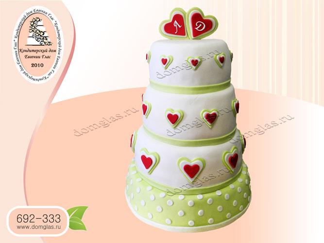 торт свадебный сердца белый зеленый