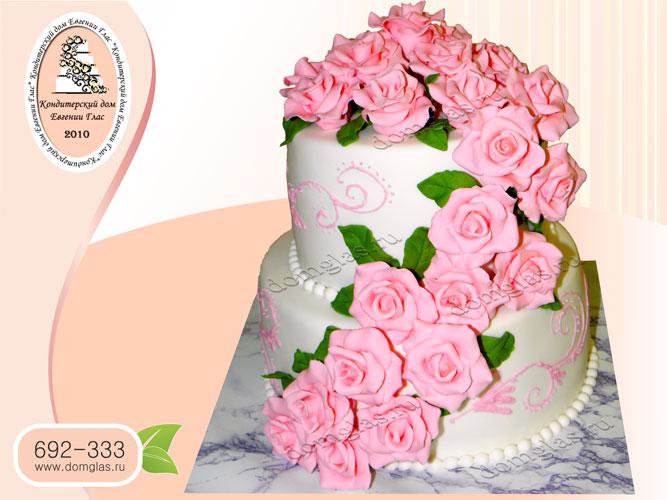 торт свадебный двухъярусный розы