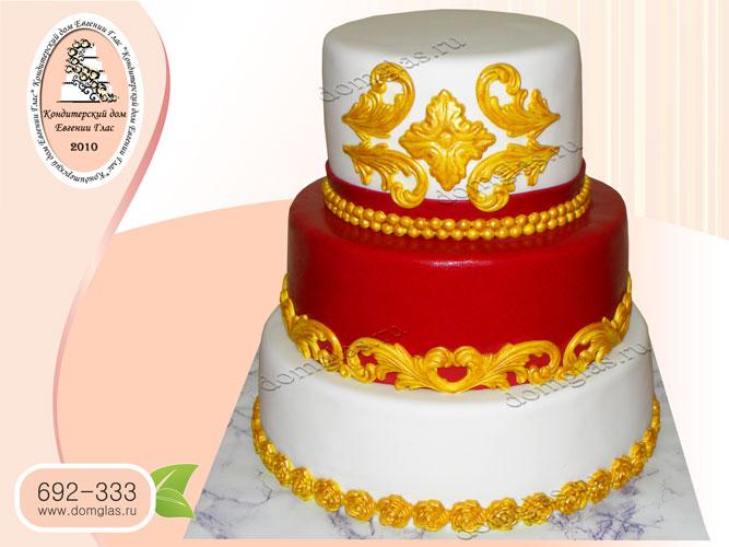 торт свадебный трехъярусный вензеля