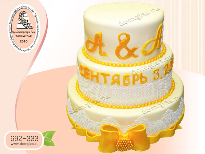 торт свадебный трехъярусный кружево