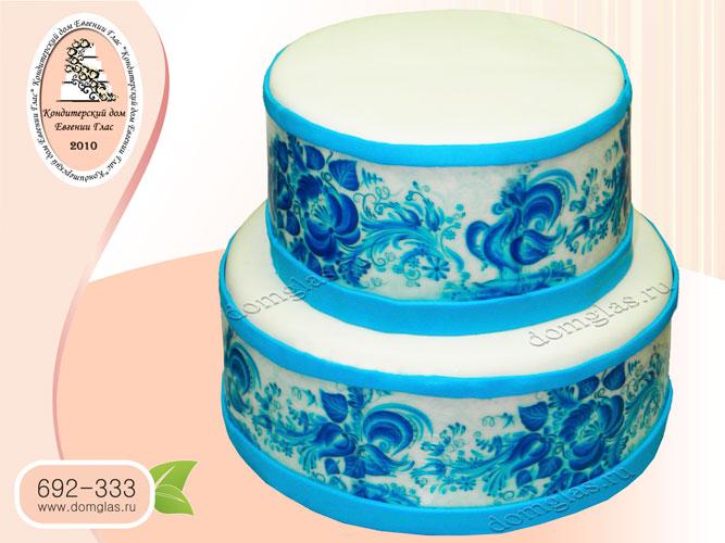 торт свадебный двухъярусный гжель