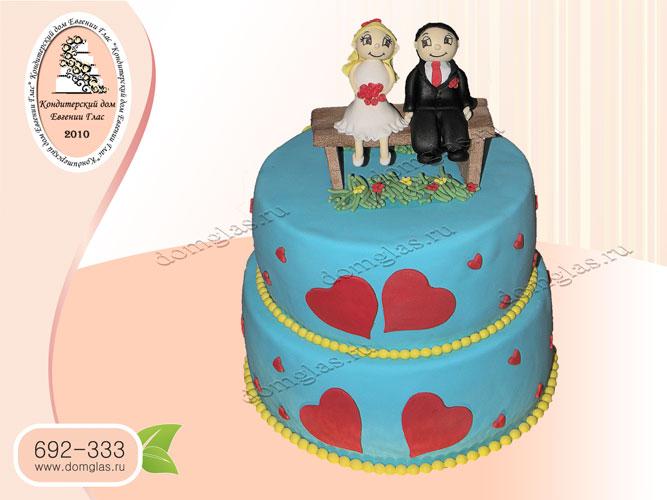 торт свадебный двухъярусный жених и невеста сердце