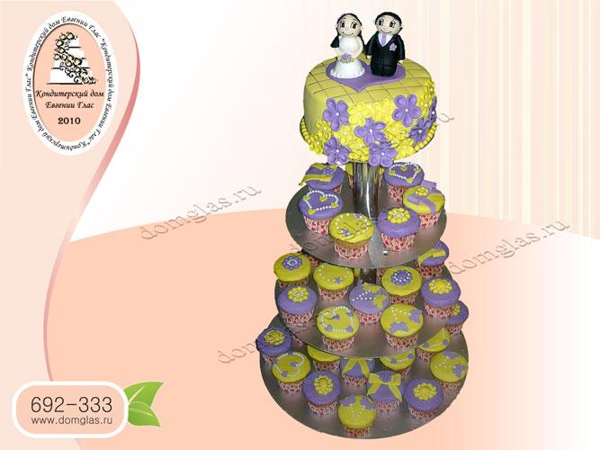 торт свадебный жених невеста капкейки