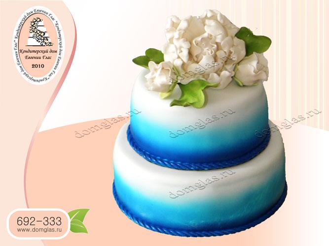 торт свадебный синий цветы пионы
