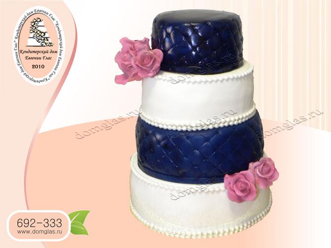 торт свадебный полосатый с цветми