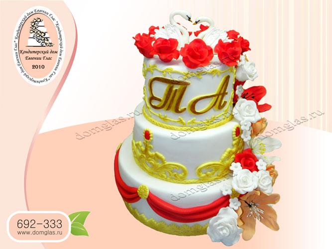 торт свадебный трехъярусный лебеди