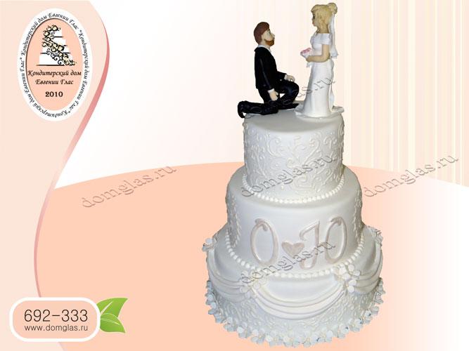 торт свадебный трехъярусный жених и невеста