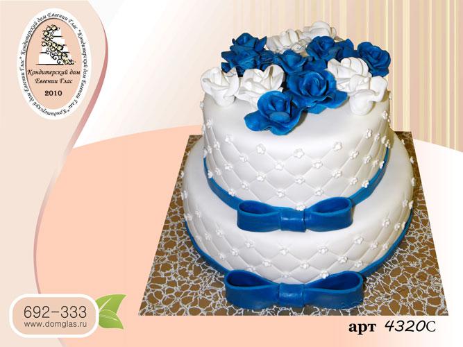 с торт свадебный двухярусный белый с синим цветы