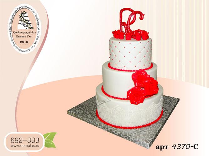 с торт свадебный трехярусный белый красный