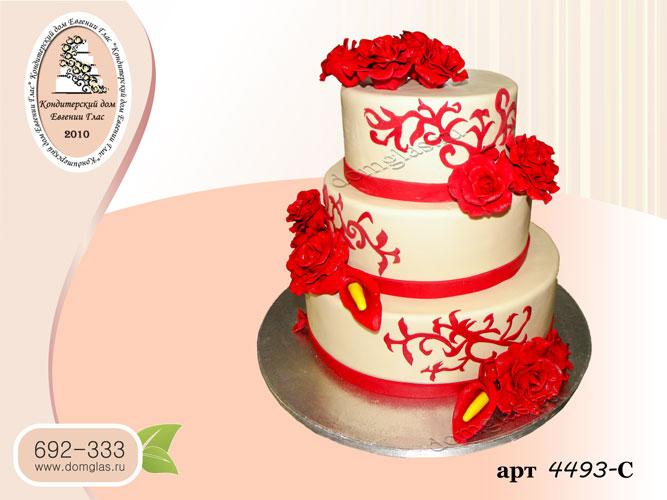 с торт свадебный трехярусный красные цветы