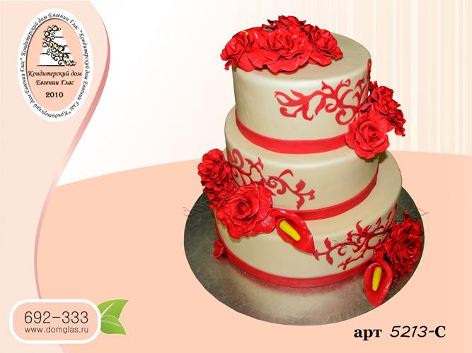 с торт три яруса красные розы