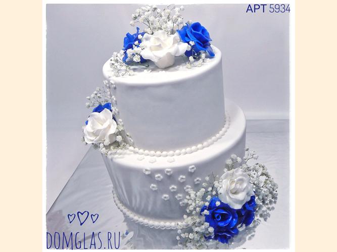 свадебный два яруса бело-синие цветы