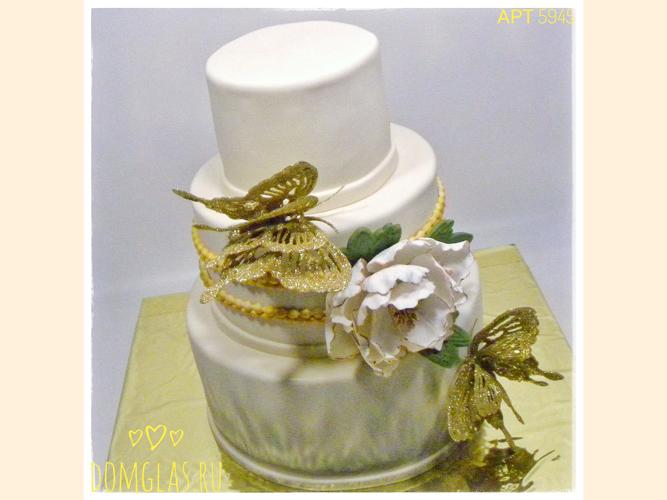 свадебный три яруса белый цветок золотые бабочки