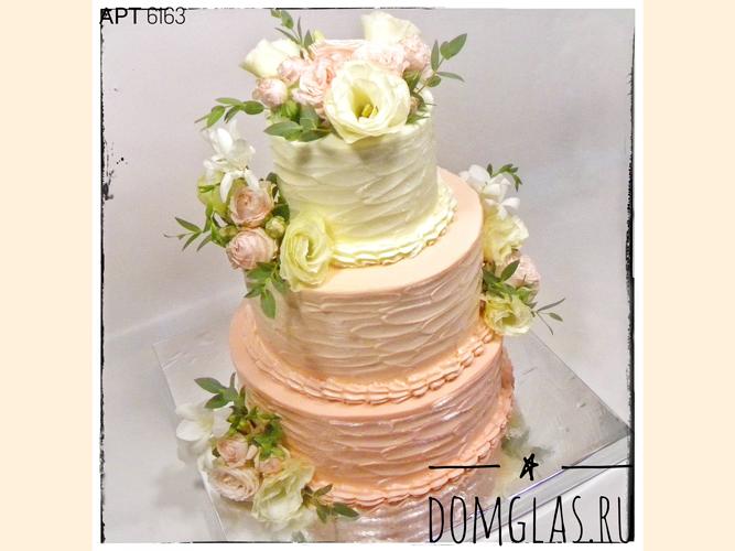 свадебный трехъярусный с живыми цветами