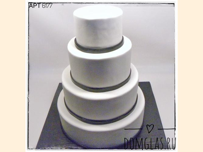 свадебный четырехъярусный белый с черным