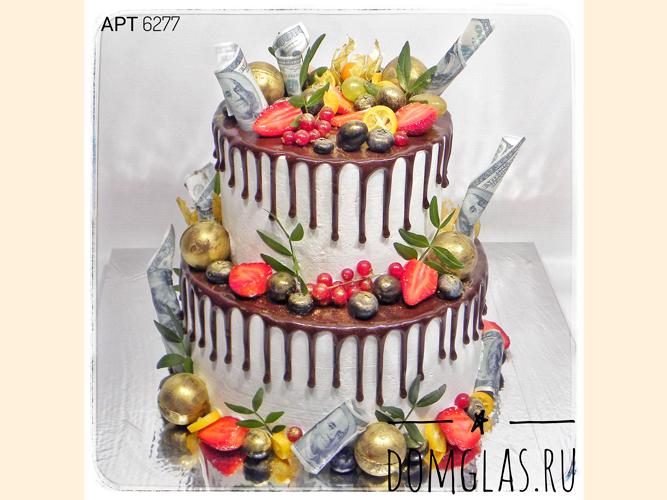 свадебный двухъярусный с потеками,ягодами,деньгами