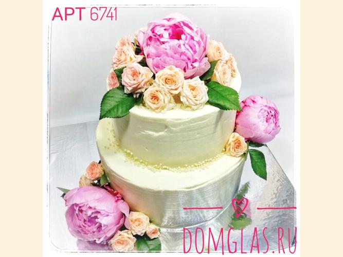 свадебный двухъярусный с живыми цветами