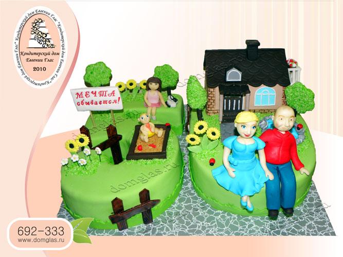 торт тематический дача дом мечта фигурки
