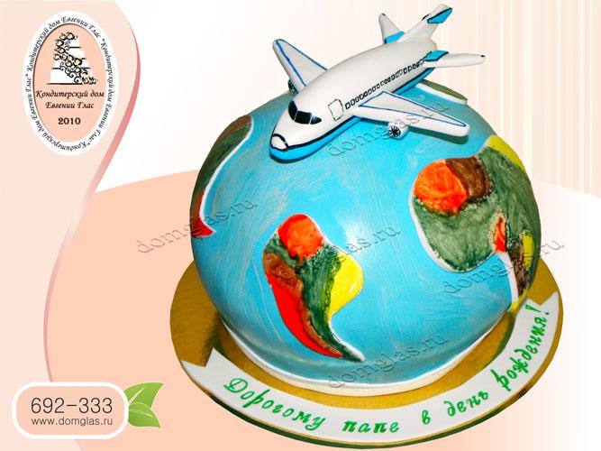 торт тематический земной шар самолет