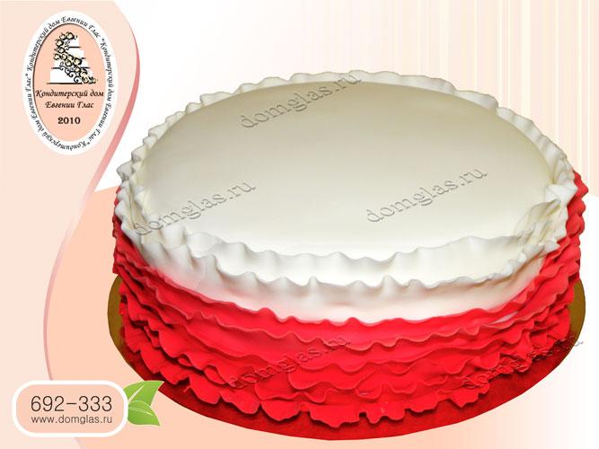 торт тематический белый с красным