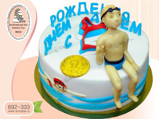 торт тематический пловец плавание медаль
