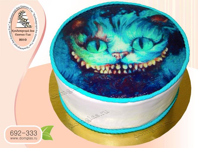 торт тематический чеширский кот фотопринт