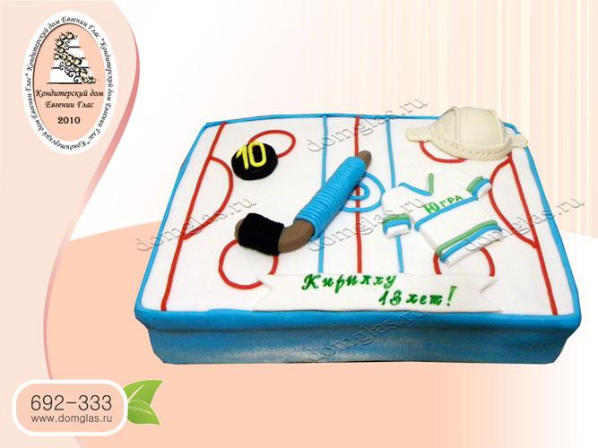 торт тематический хоккей шайба клюшка