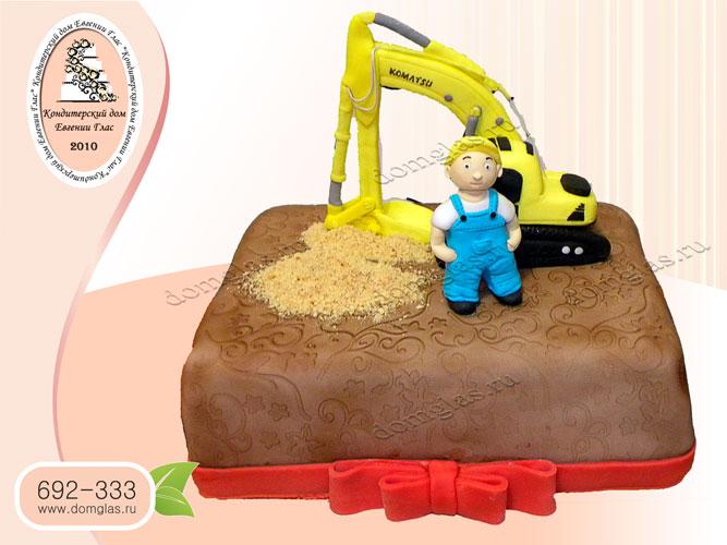 торт тематический строителю самосвал
