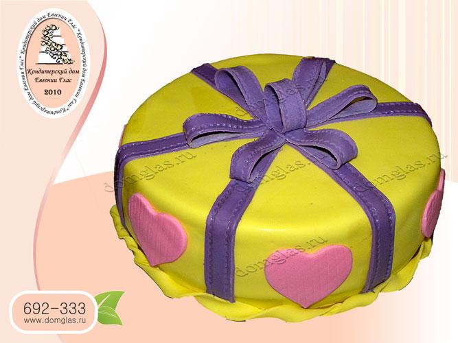 торт тематический сердце бант коробка с тортом