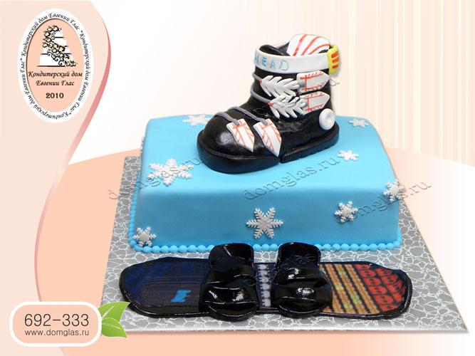 торт тематический сноуборд лыжи спорт санки