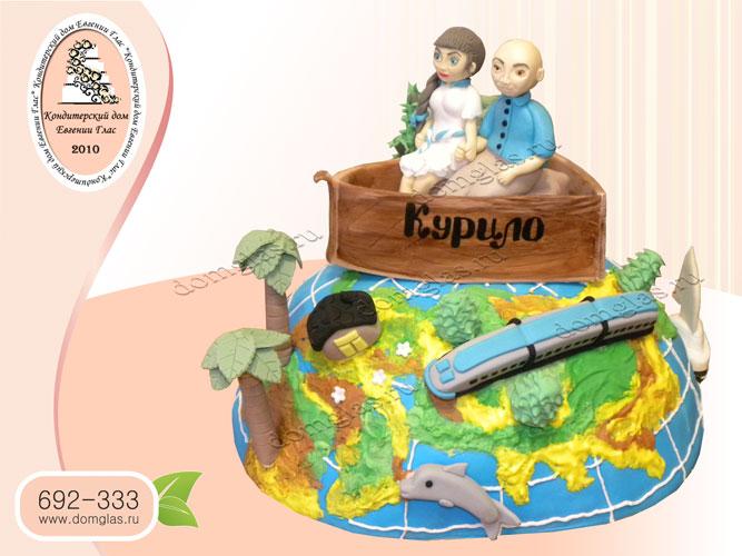 торт тематический путешествие пальмы лодка пара