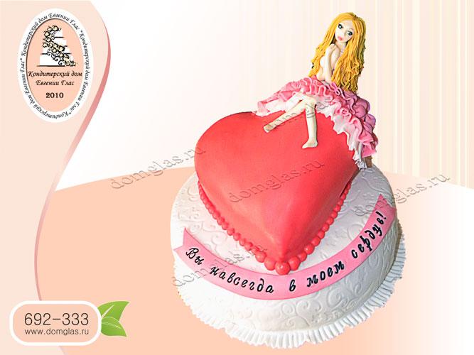 торт тематический двухъярусный сердце признание