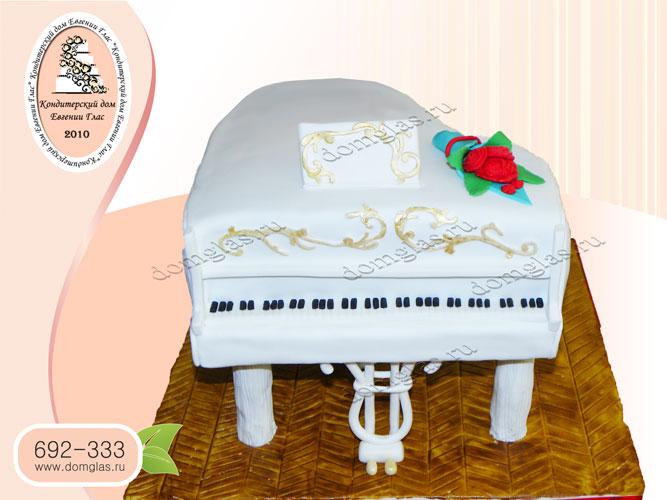 торт тематический рояль белый музыка цветы