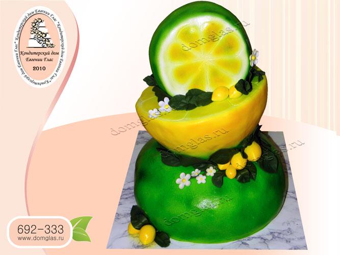 торт тематический трехъярусный лимон лайм