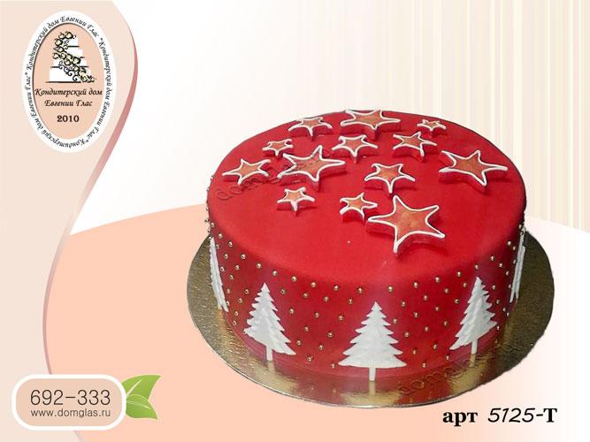 т торт новогодний красный звезды