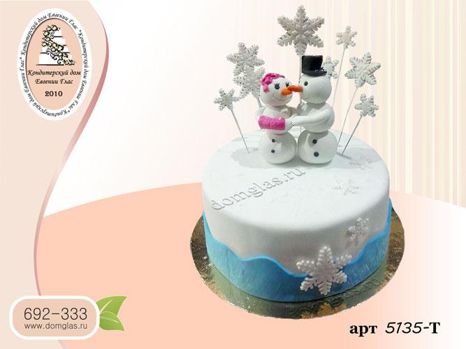 т торт новогодний снеговики пара