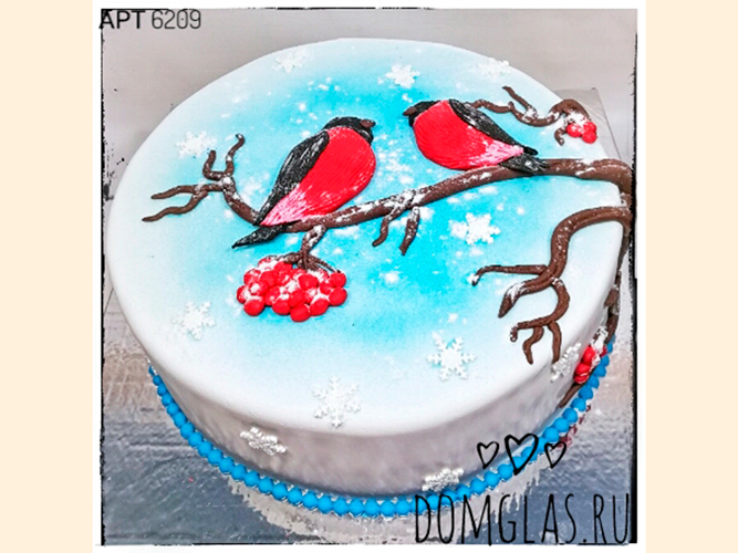 тематический новогодний снегири на рябине