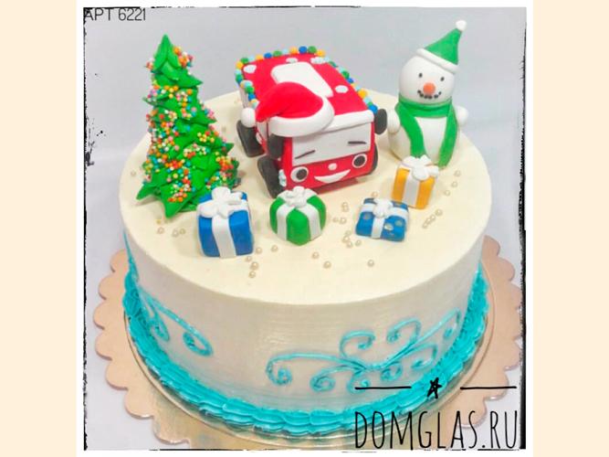 тематический с фигурками:грузовик,снеговик, ель