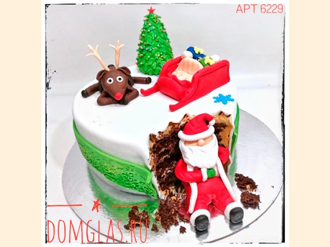 тематический новогодний Дед Мороз, олень и сани