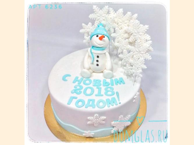 тематический круглый снеговик и снежинки