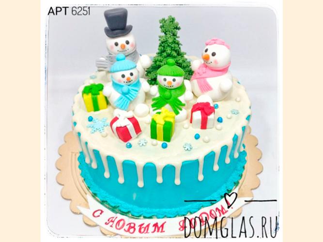 тематический со снеговиками, подарками и елью